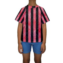 Stripes1 Black Marble & Red Watercolor Kids  Short Sleeve Swimwear