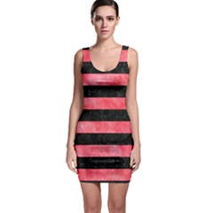 Stripes2 Black Marble & Red Watercolor Bodycon Dress