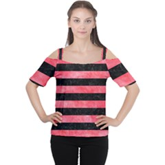 Stripes2 Black Marble & Red Watercolor Cutout Shoulder Tee