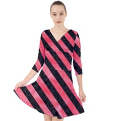 Stripes3 Black Marble & Red Watercolor Quarter Sleeve Front Wrap Dress