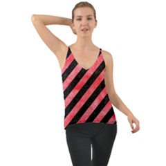 Stripes3 Black Marble & Red Watercolor (r) Cami