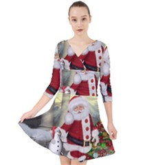 Sanata Claus With Snowman And Christmas Tree Quarter Sleeve Front Wrap Dress