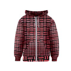 Woven1 Black Marble & Red Watercolor (r) Kids  Zipper Hoodie