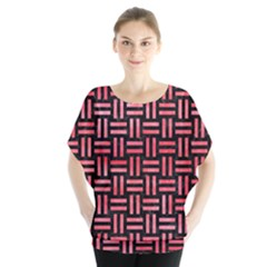 Woven1 Black Marble & Red Watercolor (r) Blouse