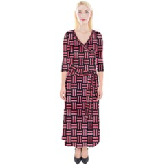 Woven1 Black Marble & Red Watercolor (r) Quarter Sleeve Wrap Maxi Dress
