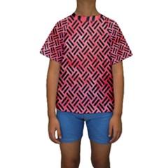 Woven2 Black Marble & Red Watercolor Kids  Short Sleeve Swimwear