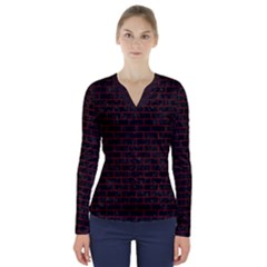 Brick1 Black Marble & Red Wood (r) V Neck Long Sleeve Top