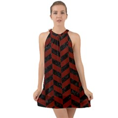 Chevron1 Black Marble & Red Wood Halter Tie Back Chiffon Dress