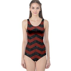 Chevron3 Black Marble & Red Wood One Piece Swimsuit