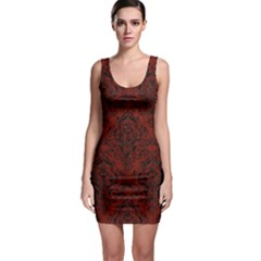 Damask1 Black Marble & Red Wood Bodycon Dress