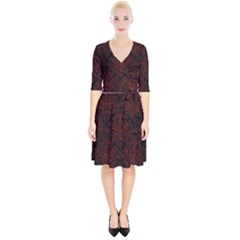 Damask1 Black Marble & Red Wood (r) Wrap Up Cocktail Dress
