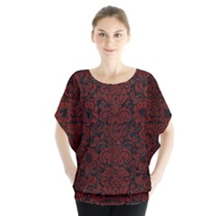 Damask2 Black Marble & Red Wood (r) Blouse