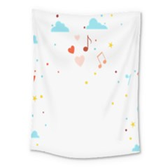 Music Cloud Heart Love Valentine Star Polka Dots Rainbow Mask Sky Medium Tapestry