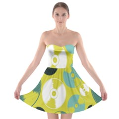 Streaming Forces Music Disc Strapless Bra Top Dress