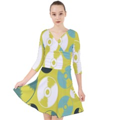 Streaming Forces Music Disc Quarter Sleeve Front Wrap Dress