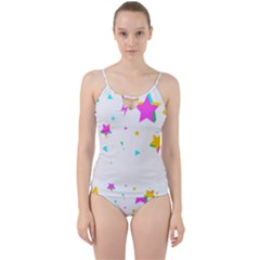 Star Triangle Space Rainbow Cut Out Top Tankini Set