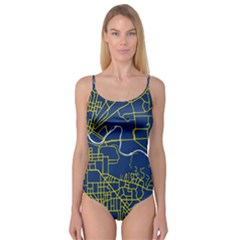 Map Art City Linbe Yellow Blue Camisole Leotard