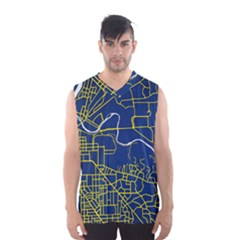 Map Art City Linbe Yellow Blue Men s Basketball Tank Top