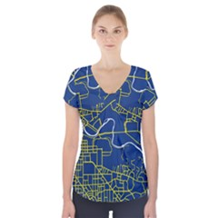 Map Art City Linbe Yellow Blue Short Sleeve Front Detail Top