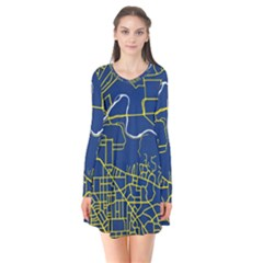 Map Art City Linbe Yellow Blue Flare Dress