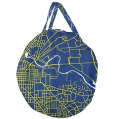 Map Art City Linbe Yellow Blue Giant Round Zipper Tote