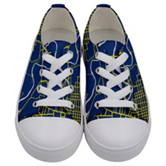 Map Art City Linbe Yellow Blue Kids  Low Top Canvas Sneakers