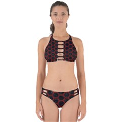Hexagon2 Black Marble & Red Wood (r) Perfectly Cut Out Bikini Set