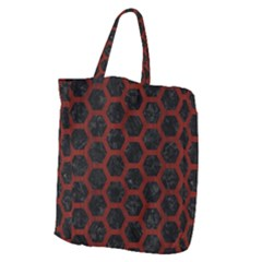 Hexagon2 Black Marble & Red Wood (r) Giant Grocery Zipper Tote