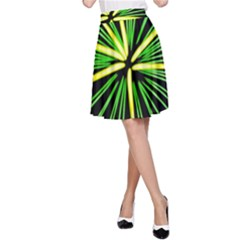 Fireworks Green Happy New Year Yellow Black Sky A Line Skirt
