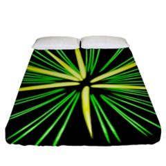 Fireworks Green Happy New Year Yellow Black Sky Fitted Sheet (king Size)