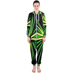 Fireworks Green Happy New Year Yellow Black Sky Hooded Jumpsuit (ladies)