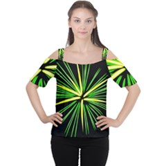 Fireworks Green Happy New Year Yellow Black Sky Cutout Shoulder Tee