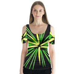 Fireworks Green Happy New Year Yellow Black Sky Butterfly Sleeve Cutout Tee
