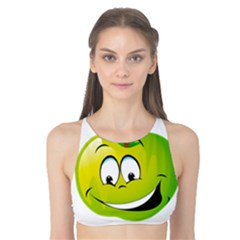 Apple Green Fruit Emoji Face Smile Fres Red Cute Tank Bikini Top