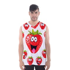 Strawberry Fruit Emoji Face Smile Fres Red Cute Men s Basketball Tank Top
