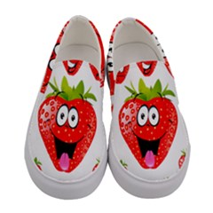 Strawberry Fruit Emoji Face Smile Fres Red Cute Women s Canvas Slip Ons