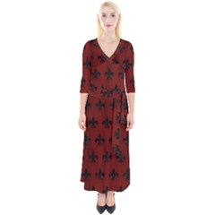 Royal1 Black Marble & Red Wood (r) Quarter Sleeve Wrap Maxi Dress