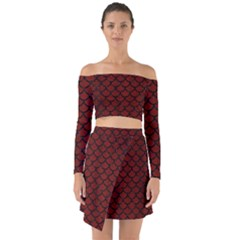 Scales1 Black Marble & Red Wood Off Shoulder Top With Skirt Set