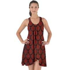 Scales1 Black Marble & Red Wood Show Some Back Chiffon Dress