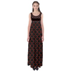 Scales1 Black Marble & Red Wood (r) Empire Waist Maxi Dress