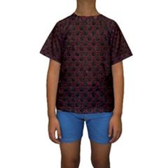 Scales2 Black Marble & Red Wood (r) Kids  Short Sleeve Swimwear