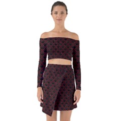 Scales2 Black Marble & Red Wood (r) Off Shoulder Top With Skirt Set