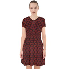 Scales3 Black Marble & Red Wood Adorable In Chiffon Dress