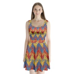 Aztec Split Back Mini Dress
