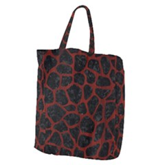 Skin1 Black Marble & Red Wood Giant Grocery Zipper Tote