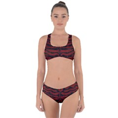 Skin2 Black Marble & Red Wood Criss Cross Bikini Set