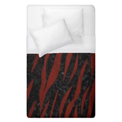 Skin3 Black Marble & Red Wood (r) Duvet Cover (single Size)