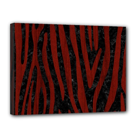 Skin4 Black Marble & Red Wood Canvas 16  X 12