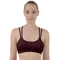 Skin4 Black Marble & Red Wood Line Them Up Sports Bra