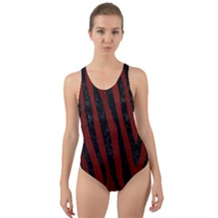 Skin4 Black Marble & Red Wood (r) Cut Out Back One Piece Swimsuit